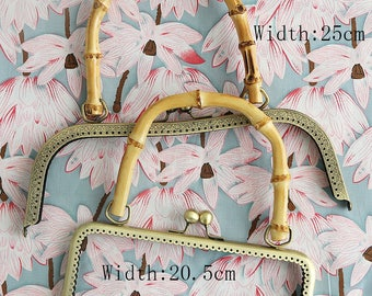 20.5/ 25 cm Width, Bamboo Kisslock Bag Frame Handle for Bag Purse Craft Hand Made