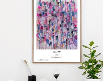 """A5, A4, A3 Limited Edition Art Poster of """"Snow"""" abstract painting"""
