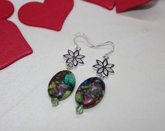 Rainbow Variscite and Sterling Silver Flower Earrings