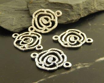 5 antique silver flower connectors