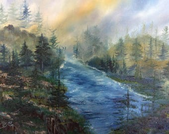 Riverwood 16 x 20 inch original oil painting by Susan Cere on cotton canvas
