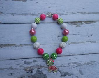 Turtle Necklace, Turtle Chunky Necklace, turtle bubble gum necklace, bubblegum bead Necklace, Turtle pendant, toddler necklace, sparkle