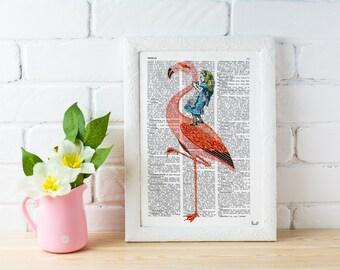 Alice in Wonderland Decor- Alice riding a Flamingo , Decorative art, Gift, Giclee print, wall art, Nursery art ALW032