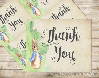 Peter Rabbit Thank You Card, Baby Shower, Printable _1249