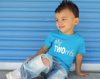Mr TWOrrific  - 2nd Birthday shirt - Front and Back design - Name on back - second birthday - two year old - Mr Terrific - Terrific Two