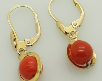 Solid 14K Yellow Gold Round Red Coral Leverback Dangle Earrings; sku # 5103