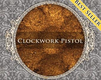 CLOCKWORK PISTOL Metallic Eyeshadow: Metallic Orange Gold, Loose Powder Eyeshadow, VEGAN Cosmetics, Samples or Jars, Ships Out in 5-8 Days