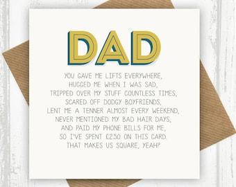 Birthday card dad etsy funny dad card dad birthday m4hsunfo