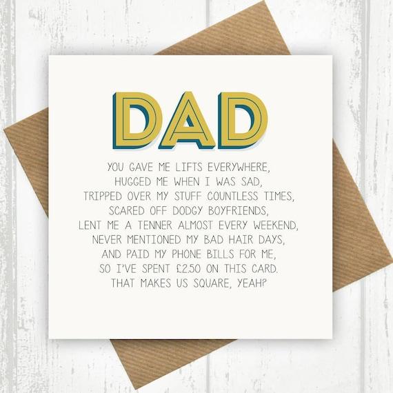 Funny Dad Card Dad Birthday Card Funny Birthday Card For