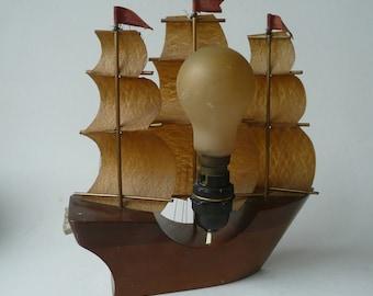 Wonderful Mid-century Retro Tall Ship Boat Barque Schooner Wooden Lamp base