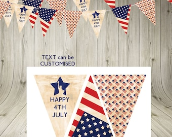 Vintage Stars and Stripes USA 4th July Independence Day Bunting Garland America American flag Instant Download  statue of liberty printable