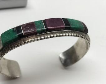 Cuff Bracelet Sterling Silver Inlaid