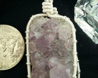 Amythyst cluster wire wrapped pendant