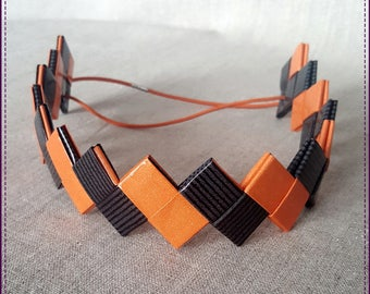 Headband, a band of recycled paper, laminated, orange and gray striped