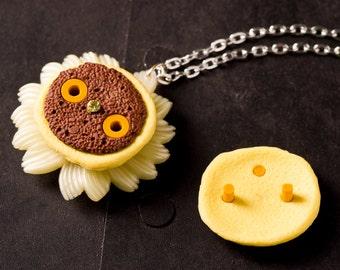 50% OFF Miniature Dorayaki Japanese Pancake Yellow Flower Rhinestone Pendant Necklace on Silver Toned Chain, Mini Fake Plastic Food Jewelry