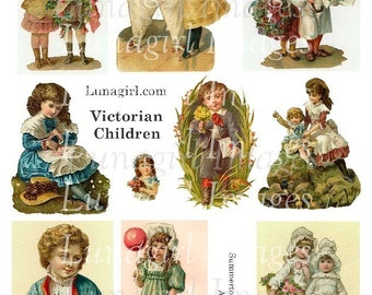 VICTORIAN CHILDREN digital collage sheet, vintage images girls boys sisters, nursery rhymes cards pictures, altered art ephemera, DOWNLOAD