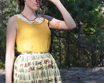Khaki & Green Camping Print Gathered Skirt / Into the Woods Skirt