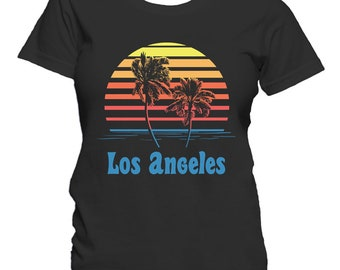 Los Angeles California Sunset Palm Trees Beach Vacation Women's T-Shirt