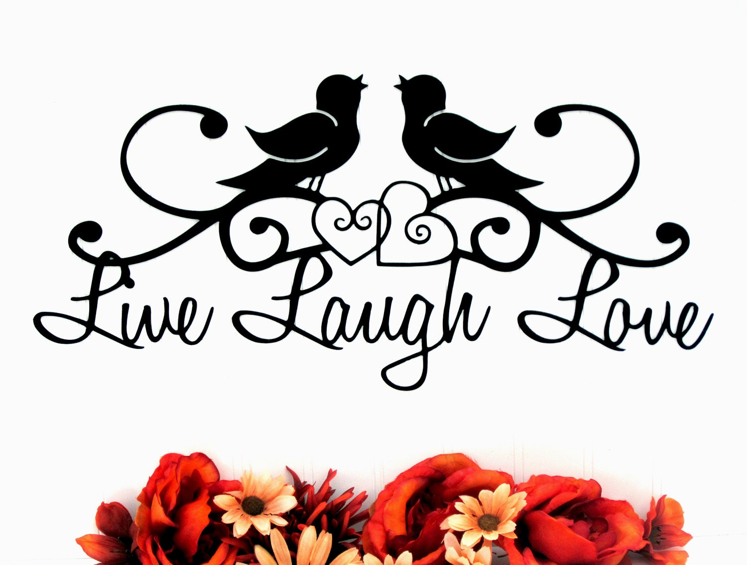 Live Laugh Love Quote Birds Live Laugh Love Sign Hearts Metal Wall Art Metal