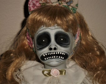 OOAK Creepy Hand Painted Altered Porcelain Doll 21