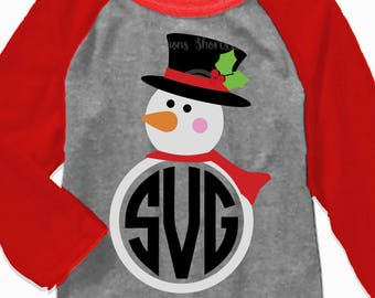 Snowman svg, snowman monogram svg, snowman iron on, monogram svg, digital download, printable, SVG, DXF, EPS, cut file, santa hat svg
