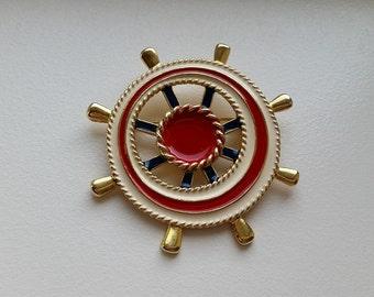 Nautical Ship Wheel Brooch