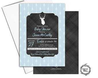 Woodland baby shower invitations for a boy | rustic baby shower invites deer | printable or printed | blue baby shower - WLP00865