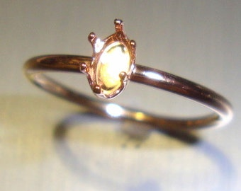 Brandi Ring blank -  prong setting - Gold Filled Flat Hammered 14 ga - custom made in your size  14k /20  YGF- ,8x6 mm