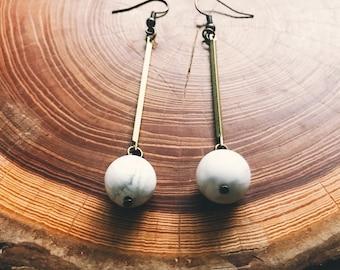 drop dangle earrings  | Marble and brass dangle earrings  | white howlite orb earrings   | brass earring |full moon drop earring