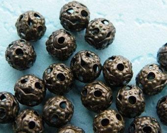 100pcs 4mm Antique Bronze Small Filigree Beads h58