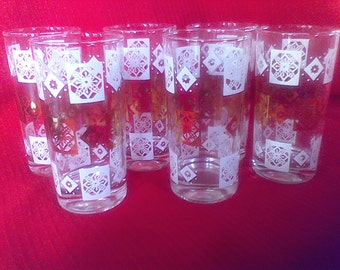 12 OzTumblers, Glasses,Barware, Mid Century, set of 6 , gold and white onclear glass