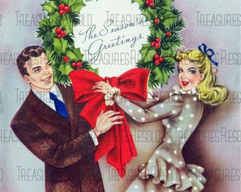 Couple With Pine Wreath Christmas Card #61 Digital Download