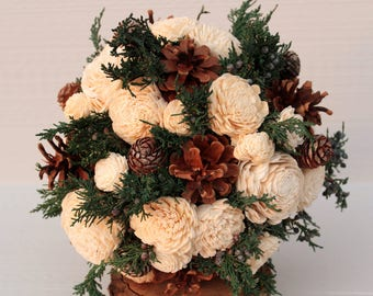Rustic Winter Sola Flower Wedding Bouquet, Winter Wedding Bouquet, Winter Bouquet, Pinecone Bouquet, Bridesmaid Bouquet, Woodland, Pine Cone