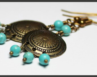 Midnight Cowboy... Handmade Beaded Jewelry Earrings Aqua Turquoise Gemstone Charm Antique Brass Concho Lightweight Conchos Dangle Southwest