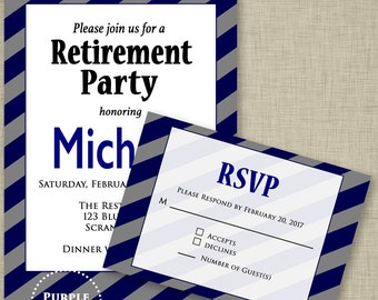 Blue Retirement Party Invitation RSVP SET Birthday Invite Mens Masculine Invite Stripe Adult Party Printable Invite 354b