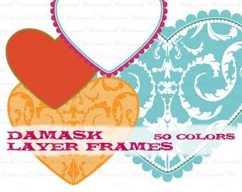 Heart clip art clipart, valentine clipart clip art, dot dotted heart digital frame clipart clip art, flourish : L1165  v301 50