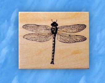realistic DRAGONFLY wood mounted rubber stamp No.12
