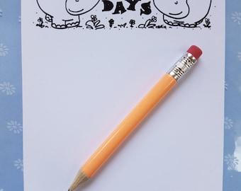 Hippo days A6 notepad, hippo notepad, happy/hippo play on words, hippo