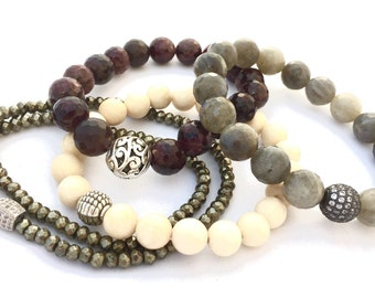 Classic Neutral Stack Bracelets,  Double Wrap Pyrite, Fossil, Labradorite and Garnet gemstones. Powerful combo.