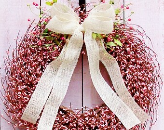 Spring Wreath-Easter Wreath-Summer Wreath-Front Door Wreath-Spring Summer Door Wreath-Spring Summer Door Decor-PINK BURLAP Berry Door Wreath