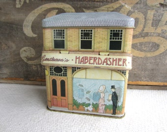 Vintage Gentleman's Haberdasher Tin Container Tin House