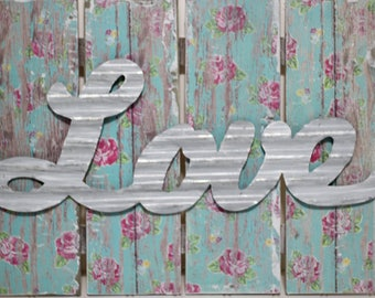 Rustic Love Sign-Floral Wooden Plaque