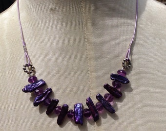 Amethyst and Purple Pearls Leather Necklace Genuine amethyst    Boho jewelry   February Birthstone