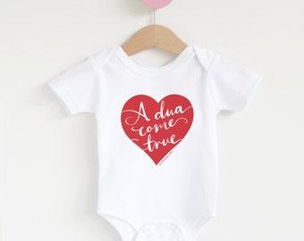 A Dua Come True Heart Muslim Baby Onesie, Jumpsuit, Islamic Baby Gift, Muslim Baby Gift