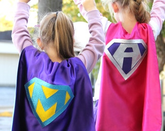 FAST delivery - Girls Sparkle Custom Shield Superhero Costume Cape - PERSONALIZED GIRL Cape - Custom Initial - 8 color choices
