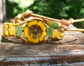 Orange, Lemon and Lime Sorbet Flower Wrap Bracelet