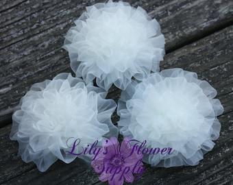 Light Petti Puff - Puff - THREE - Chiffon Flower - Organza flower - Ruched Flower - Embellishment - Headband Supply - Ivory - Wholesale