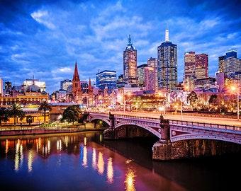 Melbourne Photography Sunset Prints Flinders Street Wall Art Wedding Gift for Him Large Fine Art Lounge Decor  Gift FREE POST AUSTRALIA