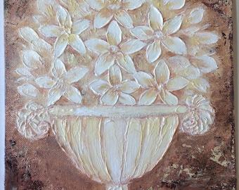 "White Flowers with a vase - #1, original impasto Impressionism painting, 8"" x 10"" Yoko Collin, インペストオリジナル画"
