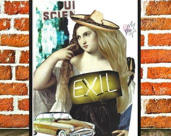 "Poster collage, travel, wall art, figurative poster, collage and art collections, ""Exile"""